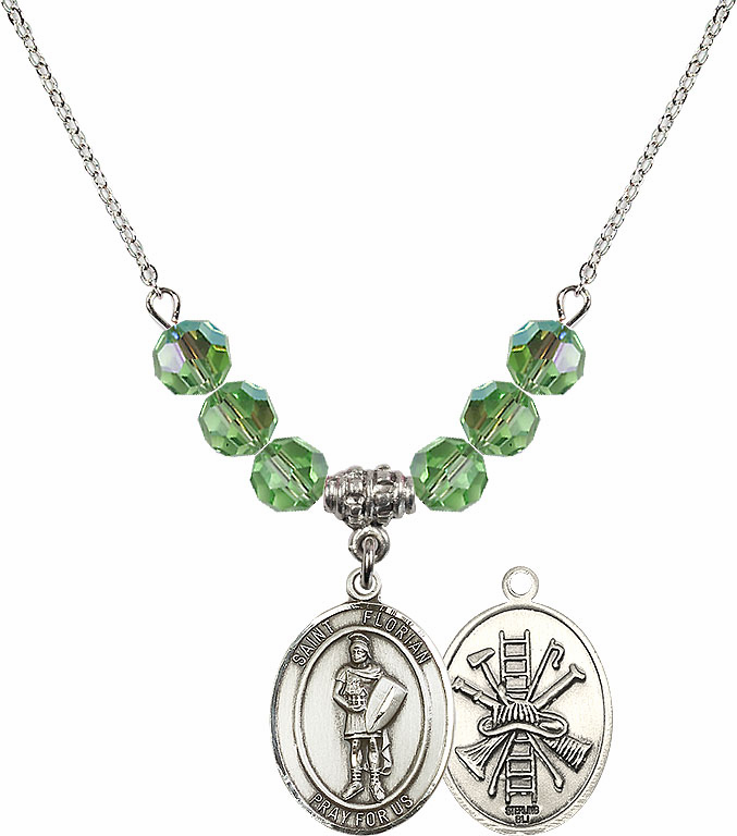St Florian Fire Fighters/Fireman Peridot Swarovski Necklace by Bliss Mfg