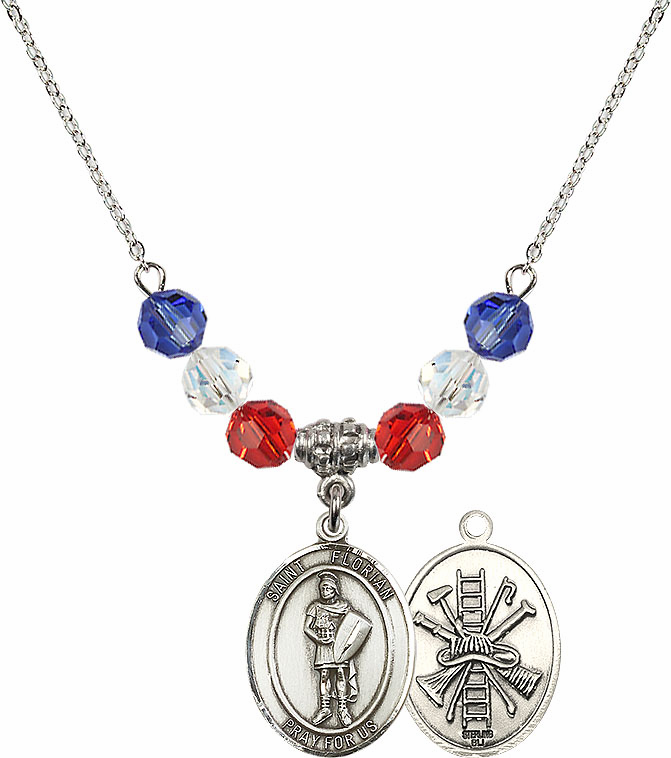 St Florian Fire Fighters/Fireman Red, White & Blue Patriot Swarovski Necklace by Bliss Mfg