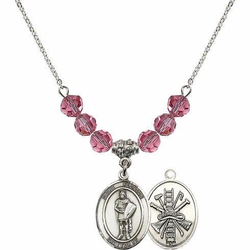 St Florian Fire Fighters/Fireman Rose Swarovski Necklace by Bliss Mfg