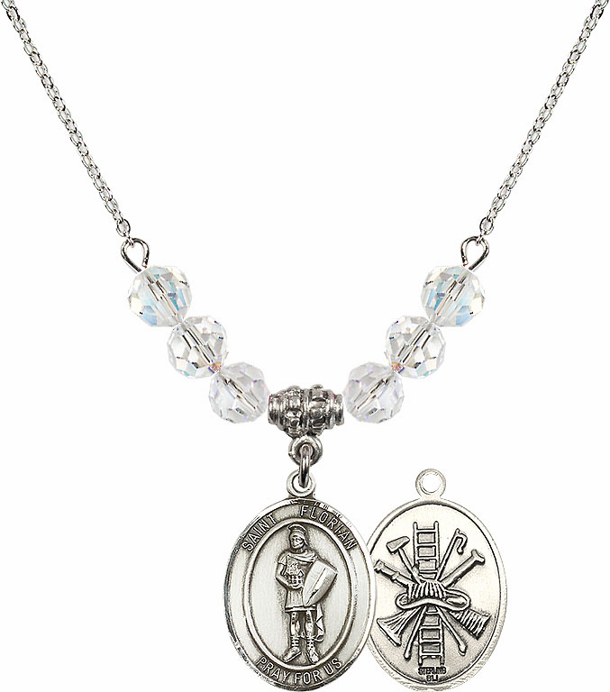 St Florian Fire Fighters/Fireman Swarovski Necklace by Bliss Mfg