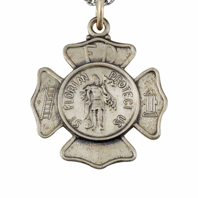 St Florian Fire Fighters Sterling Silver Medal Necklace by Singer