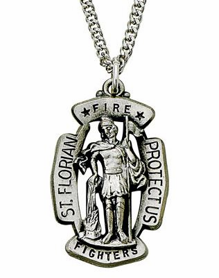 St Florian Shield Medal Patron of Fire Fighters Necklace by Singer