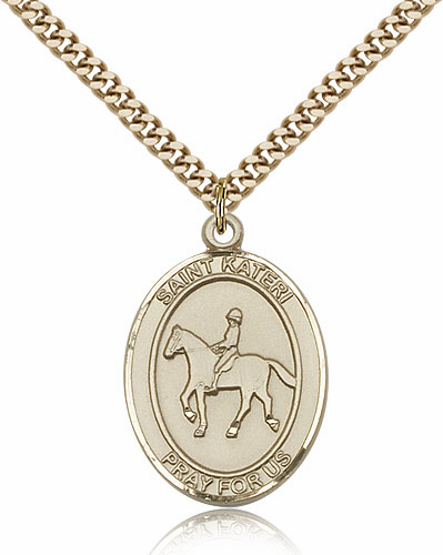 St Kateri Equestrian Sports 14kt Gold-Filled Pendant Necklace by Bliss