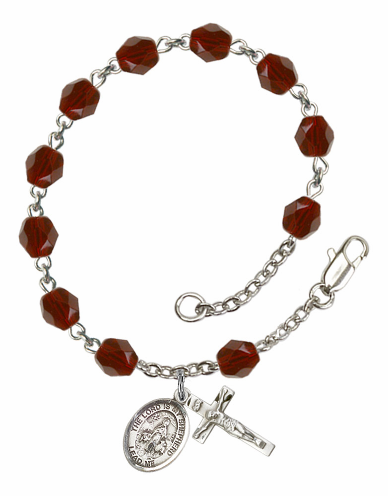 St Lord Is My Shepherd Silver Plate Birthstone Rosary Bracelet by Bliss