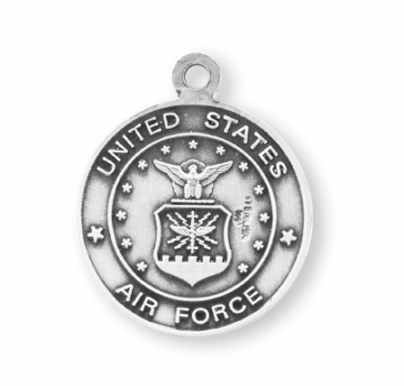 St Michael Air Force Sterling Silver Medal Necklace by HMH Religious