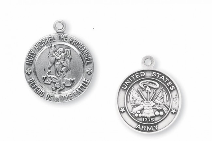 St Michael Army Sterling Silver Medal Necklace by HMH Religious