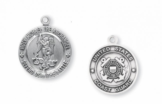 St Michael Coast Guard Sterling Silver Medal Necklace by HMH Religious