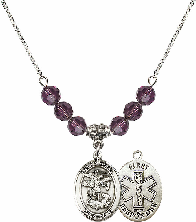 St Michael First Responders Amethyst Swarovski Necklace by Bliss Mfg