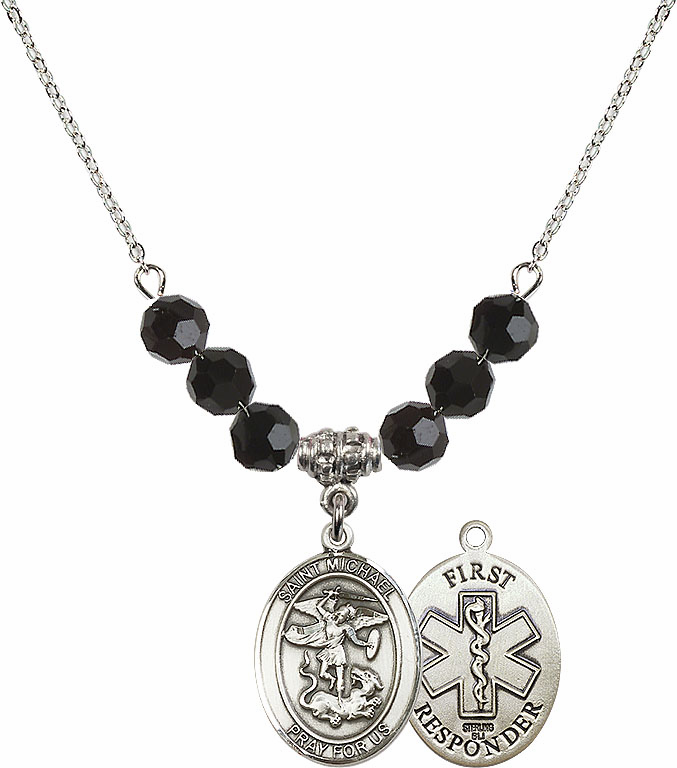 St Michael First Responders Jet Black Swarovski Necklace by Bliss Mfg