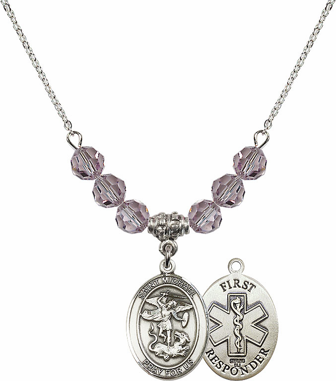 St Michael First Responders Lt Amethyst Swarovski Necklace by Bliss Mfg