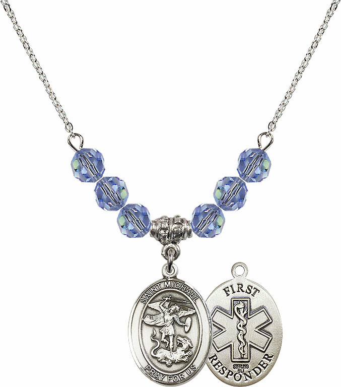 St Michael First Responders Lt Sapphire Swarovski Necklace by Bliss Mfg