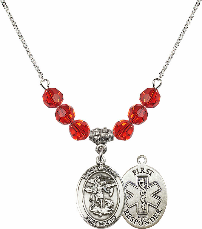 St Michael First Responders Ruby Swarovski Necklace by Bliss Mfg