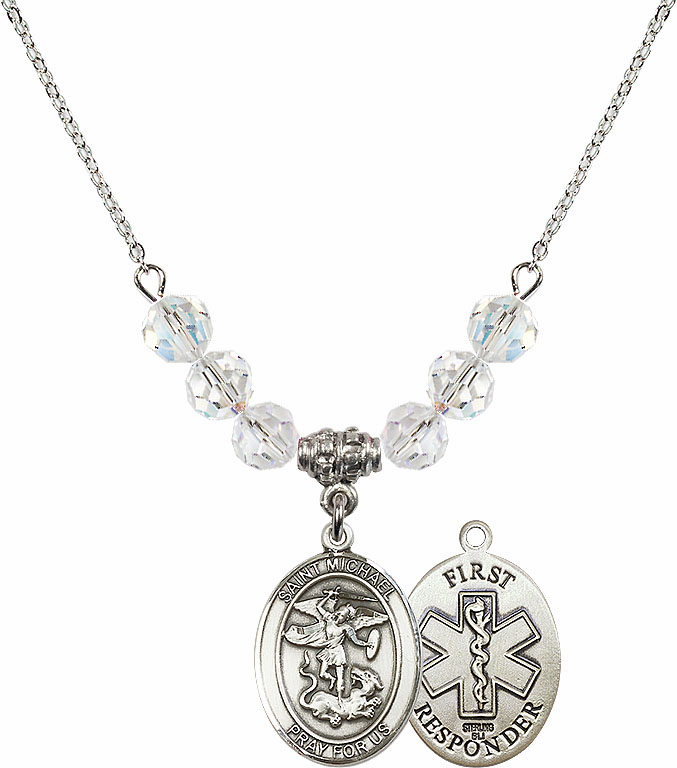 St Michael First Responders Swarovski Necklace by Bliss Mfg