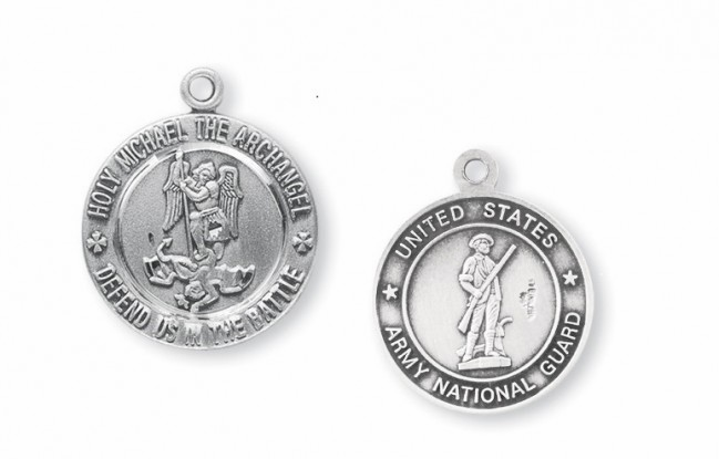 St Michael National Guard Sterling Silver Medal Necklace by HMH Religious