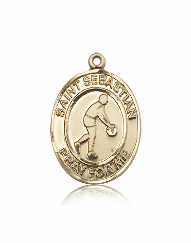 St Sebastian Basketball Player 14kt Gold Sports Medal Pendant by Bliss