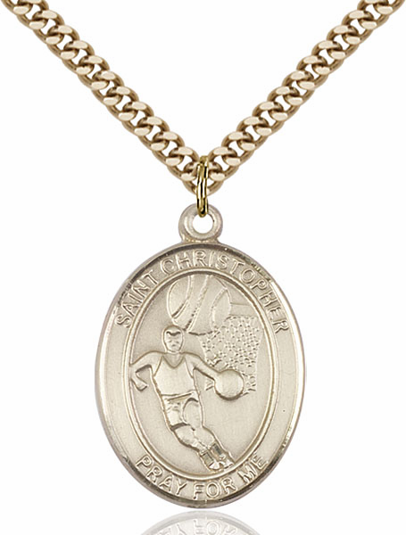 St Sebastian Basketball Sports 14kt Gold-Filled Pendant Necklace by Bliss