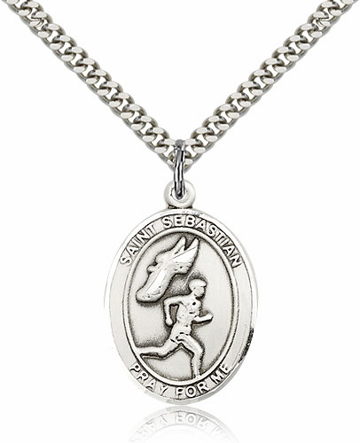 St Sebastian Male Track & Field Sterling-Filled Patron Saint Medal by Bliss Manufacturing