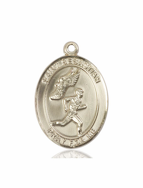 St Sebastian Men's Track and Field 14kt Gold Sports Medal Pendant by Bliss