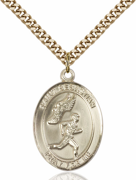 St Sebastian Men's Track and Field Sports 14kt Gold-Filled Pendant Necklace by Bliss