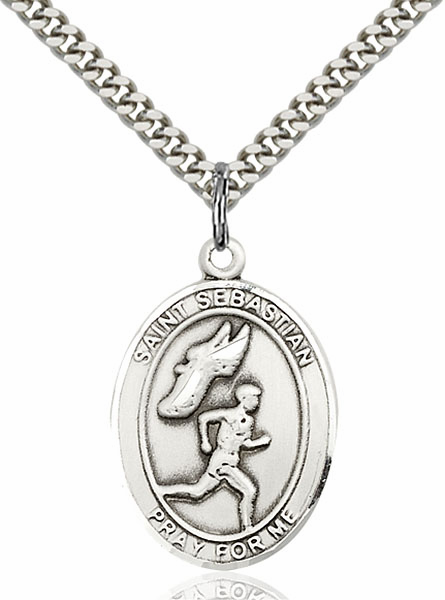 St Sebastian Men's Track and Field Sports Sterling Silver Pendant Necklace by Bliss