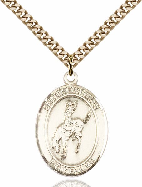 St Sebastian Rodeo Sports 14kt Gold-Filled Pendant Necklace by Bliss