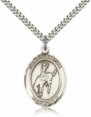 St Sebastian Rodeo Sports Sterling Silver Pendant Necklace by Bliss