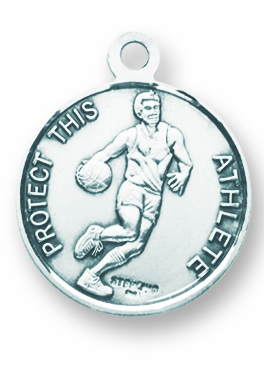 St Sebastian Round Basketball Sports Saint Medal Necklace by HMH Religious