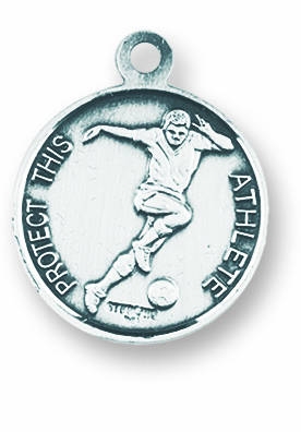 St Sebastian Round Soccer Player Sports Saint Medal Necklace by HMH Religious