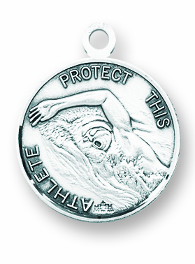 St Sebastian Round Swimming Sports Saint Medal Necklace by HMH Religious