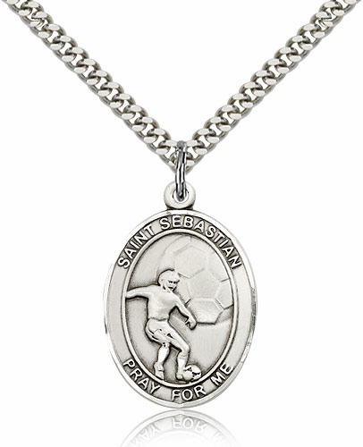 St Sebastian Soccer Player Sterling-Filled Patron Saint Medal by Bliss Manufacturing