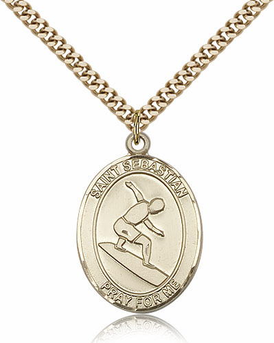 St Sebastian Surfing Sports 14kt Gold-Filled Pendant Necklace by Bliss