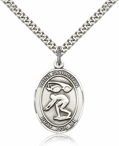 St Sebastian Swimming Pewter Patron Saint Necklace by Bliss