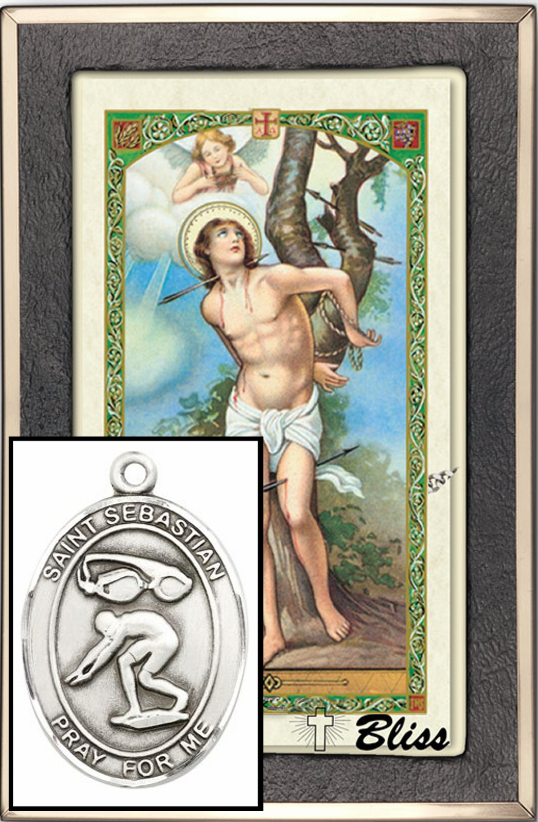 St Sebastian Swimming Prayer Card Sterling Silver Necklace by Bliss