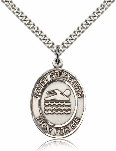 St Sebastian Swimming Silver-Filled Patron Saint Medal by Bliss Manufacturing