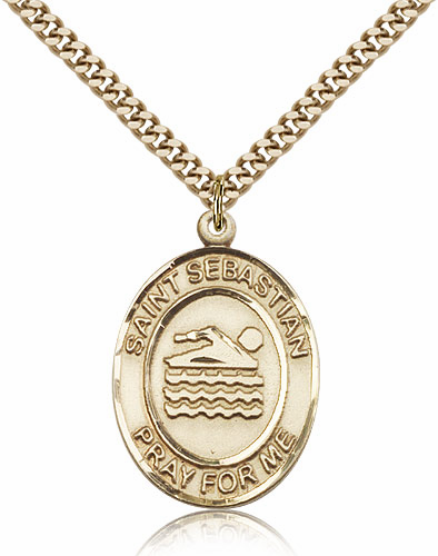 St Sebastian Swimming Sports 14kt Gold-Filled Pendant Necklace by Bliss