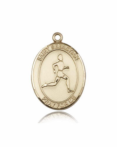 St Sebastian Track and Field 14kt Gold Sports Medal Pendant by Bliss