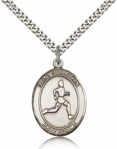 St Sebastian Track and Field Silver-Filled Patron Saint Medal by Bliss Manufacturing