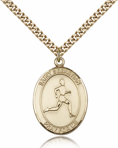 St Sebastian Track and Field Sports 14kt Gold-Filled Pendant Necklace by Bliss