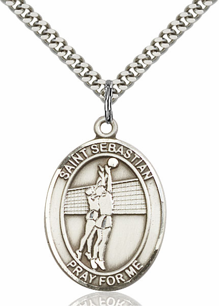 St Sebastian Volleyball Silver-Filled Patron Saint Medal by Bliss Manufacturing