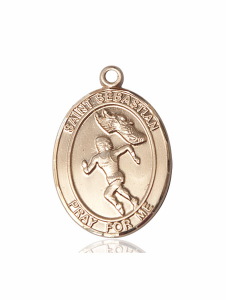 St Sebastian Women's Track and Field 14kt Gold Sports Medal Pendant by Bliss