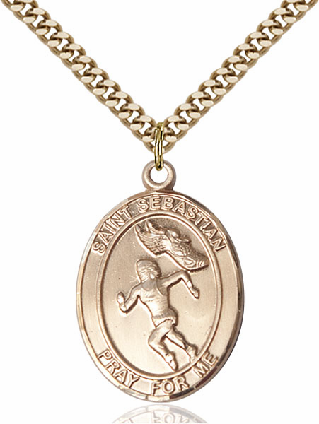 St Sebastian Women's Track and Field Sports 14kt Gold-Filled Pendant Necklace by Bliss