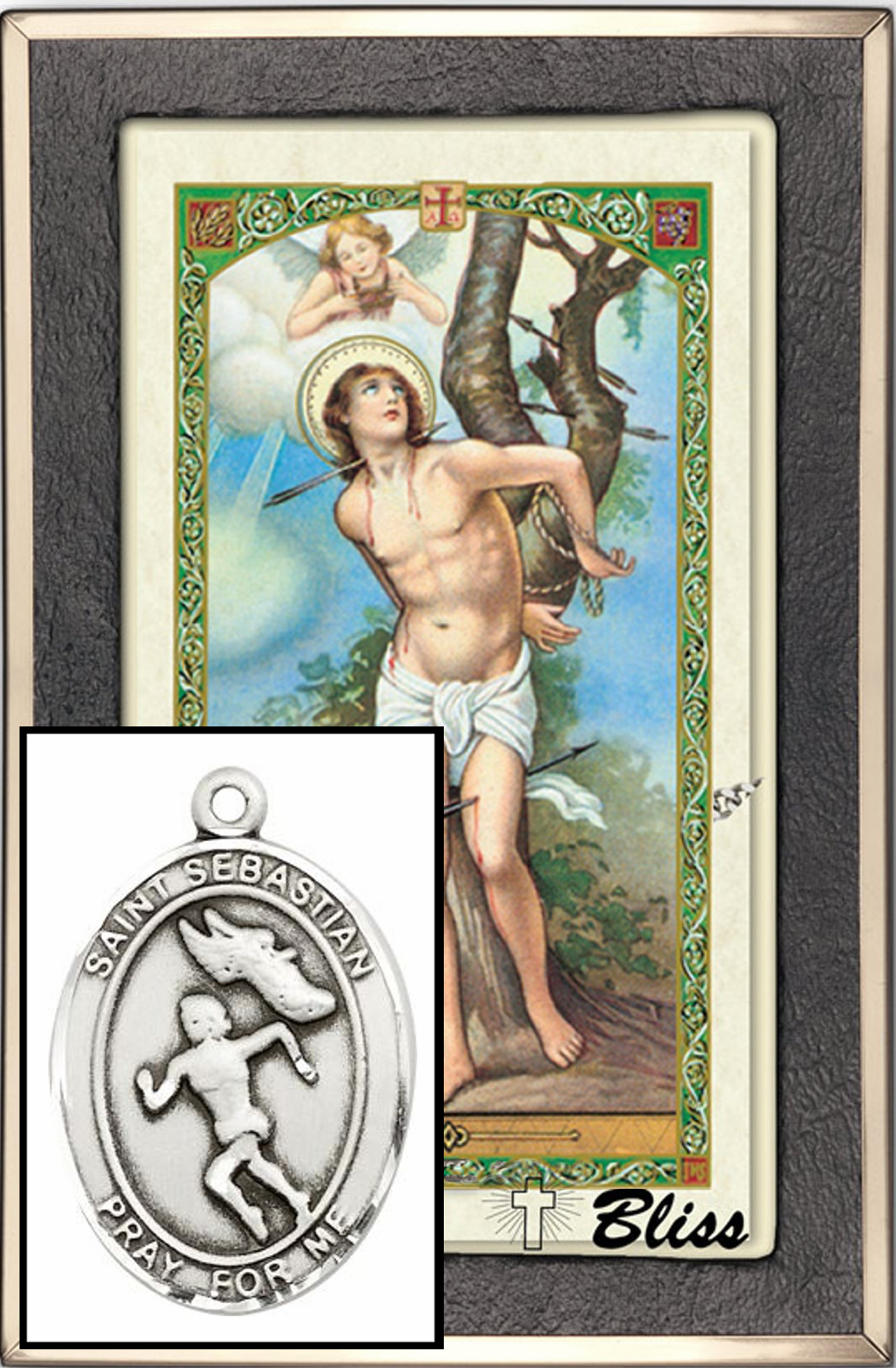 St Sebastian Women Track Prayer Card & Sterling-Filled Necklace by Bliss