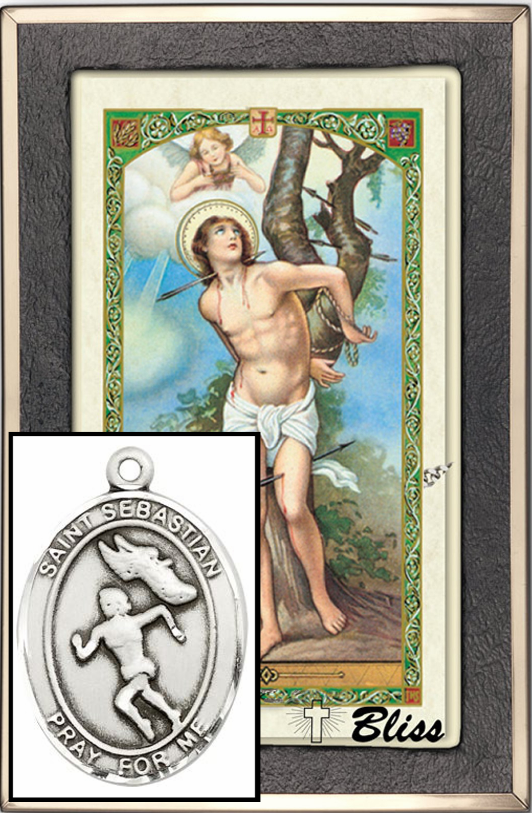 St Sebastian Women Track Prayer Card Sterling Silver Necklace by Bliss
