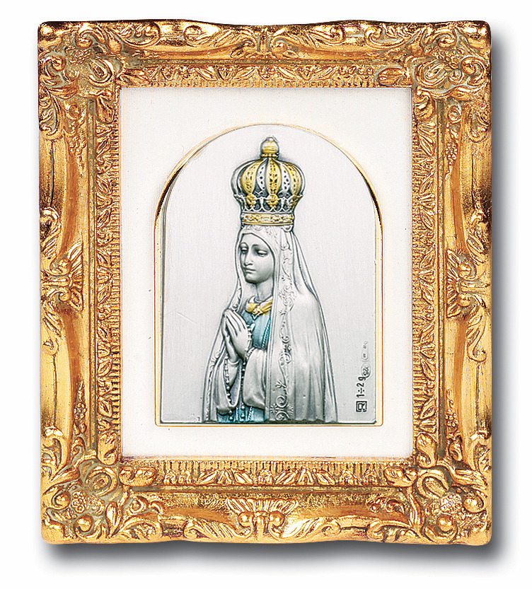 Sterling Our Lady of Fatima Antique Gold Framed Picture by Salerni