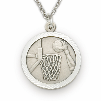Sterling Silver Boys Basketball Medal Necklace