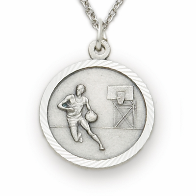 Sterling Silver Boys Basketball Player Necklace