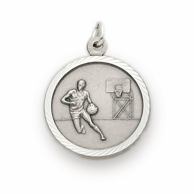 Sterling Silver Boys St Christopher Basketball Player Medal