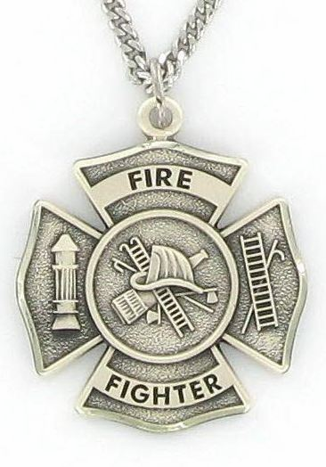 Sterling Silver Fireman Shield Medal with St Florian on Back by Singer