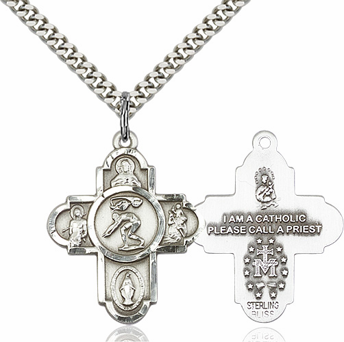 Swimming 5-Way Cross Saint Sports Pewter Medal Necklace by Bliss