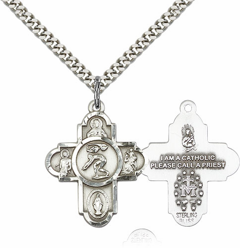 Swimming 5-Way Cross Saint Sports Sterling Silver Medal Necklace by Bliss